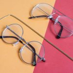 Image of Two Clear Aviator Eyeglasses With Gray Steel Frame