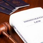 Image of mallet, passports and immigration law book