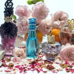 Image of Still Life Roses Perfume Perfume Bottles Fragrance