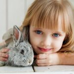 Image of Girl Lying on White Surface Petting Gray Rabbit